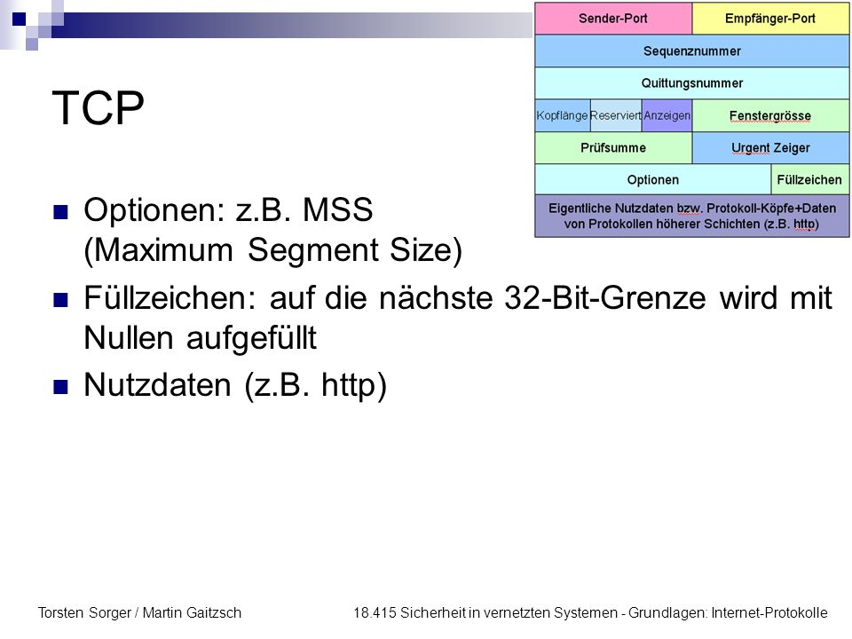 TCP Optionen: z.B. MSS (Maximum Segment Size)