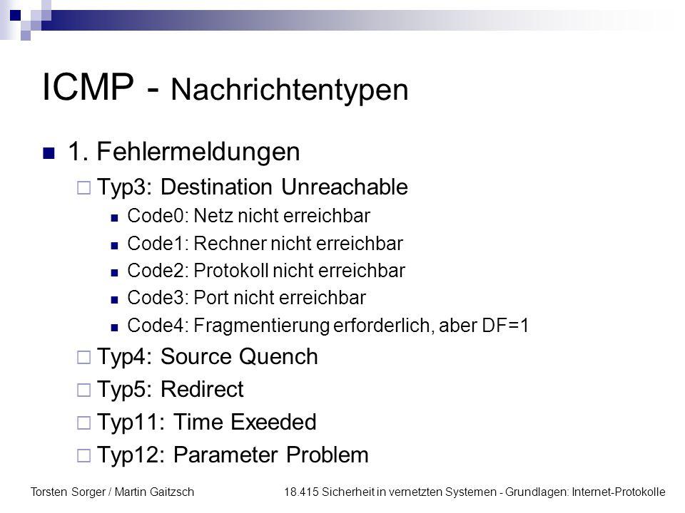 ICMP - Nachrichtentypen