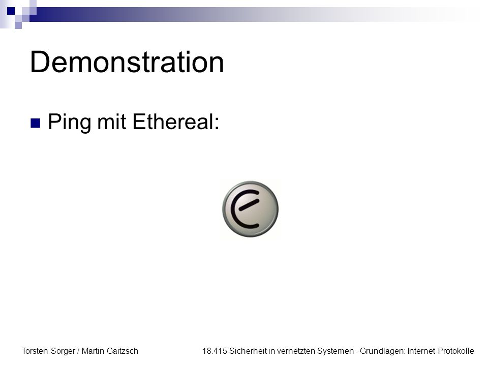 Demonstration Ping mit Ethereal: