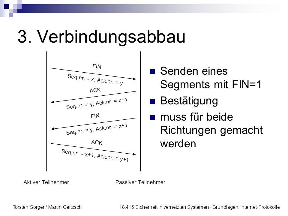 3. Verbindungsabbau Senden eines Segments mit FIN=1 Bestätigung