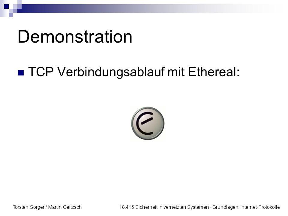 Demonstration TCP Verbindungsablauf mit Ethereal: