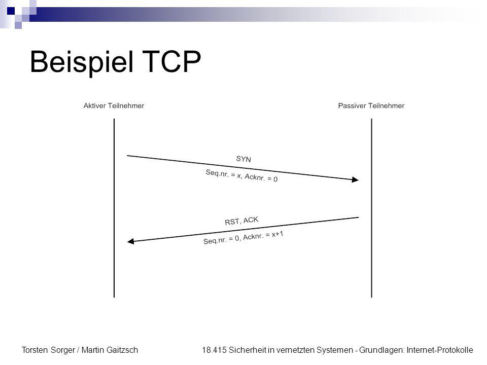 Beispiel TCP Torsten Sorger / Martin Gaitzsch 18.415 Sicherheit in vernetzten Systemen - Grundlagen: Internet-Protokolle.