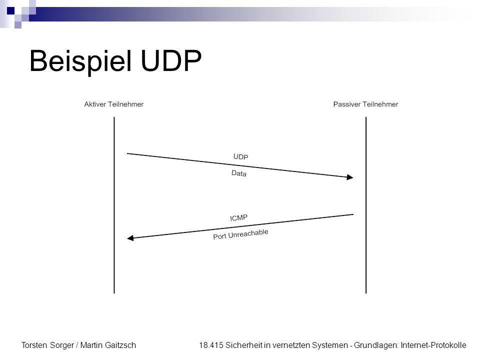 Beispiel UDP Torsten Sorger / Martin Gaitzsch 18.415 Sicherheit in vernetzten Systemen - Grundlagen: Internet-Protokolle.