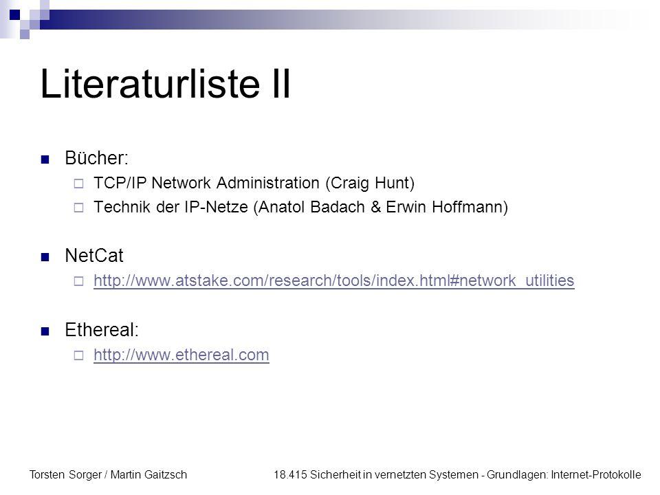 Literaturliste II Bücher: NetCat Ethereal: