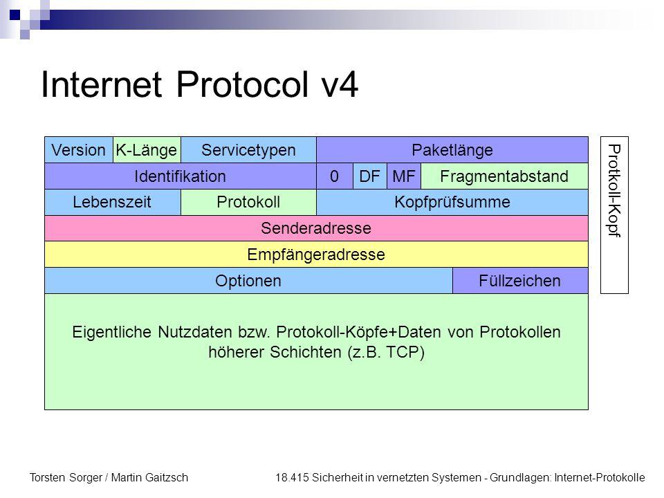 Internet Protocol v4 Version K-Länge Servicetypen Paketlänge
