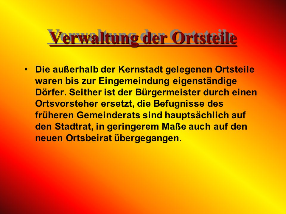 Verwaltung der Ortsteile