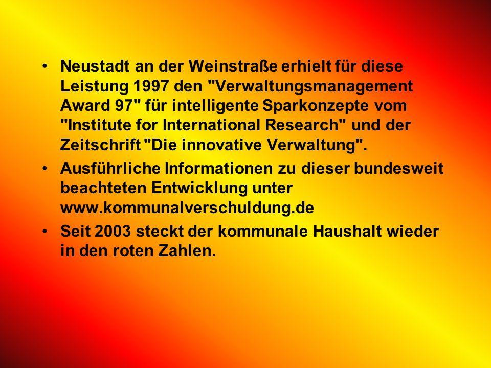 Neustadt an der Weinstraße erhielt für diese Leistung 1997 den Verwaltungsmanagement Award 97 für intelligente Sparkonzepte vom Institute for International Research und der Zeitschrift Die innovative Verwaltung .