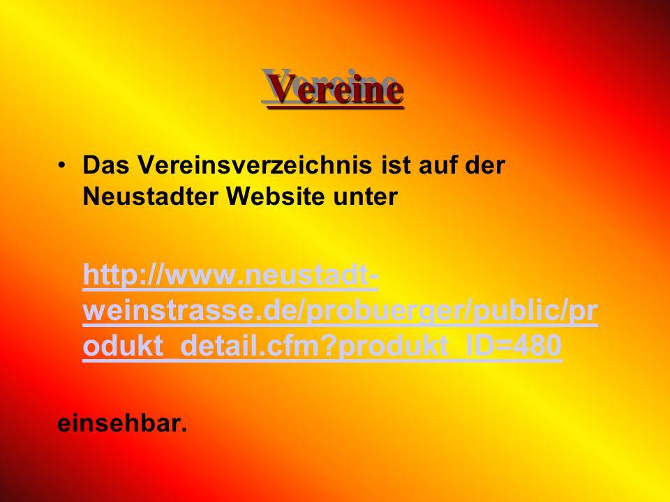 Vereine Das Vereinsverzeichnis ist auf der Neustadter Website unter.