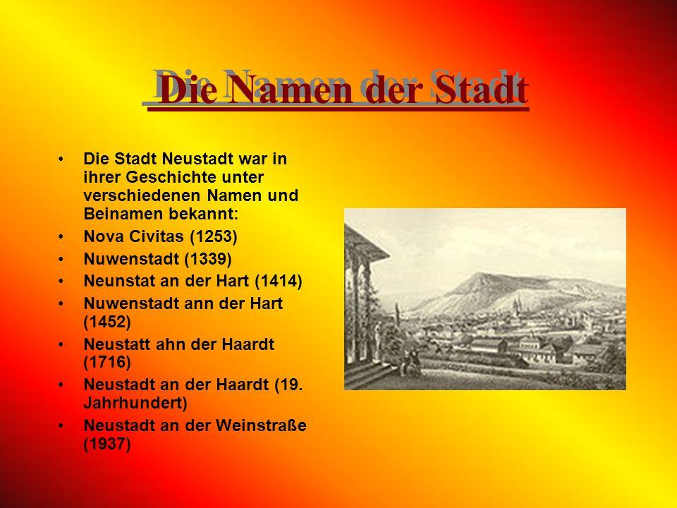 Die Namen der Stadt Die Stadt Neustadt war in ihrer Geschichte unter verschiedenen Namen und Beinamen bekannt: