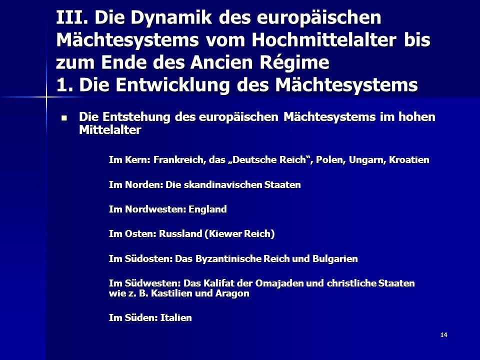 III. Die Dynamik des europäischen Mächtesystems vom Hochmittelalter bis zum Ende des Ancien Régime 1. Die Entwicklung des Mächtesystems
