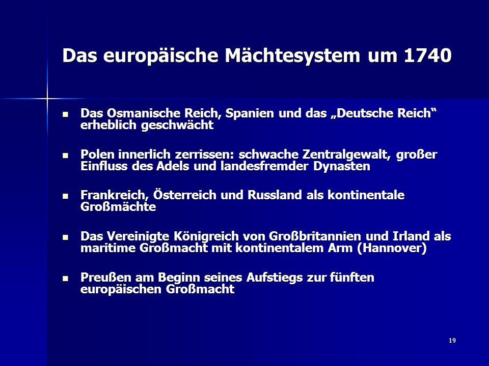 Das europäische Mächtesystem um 1740