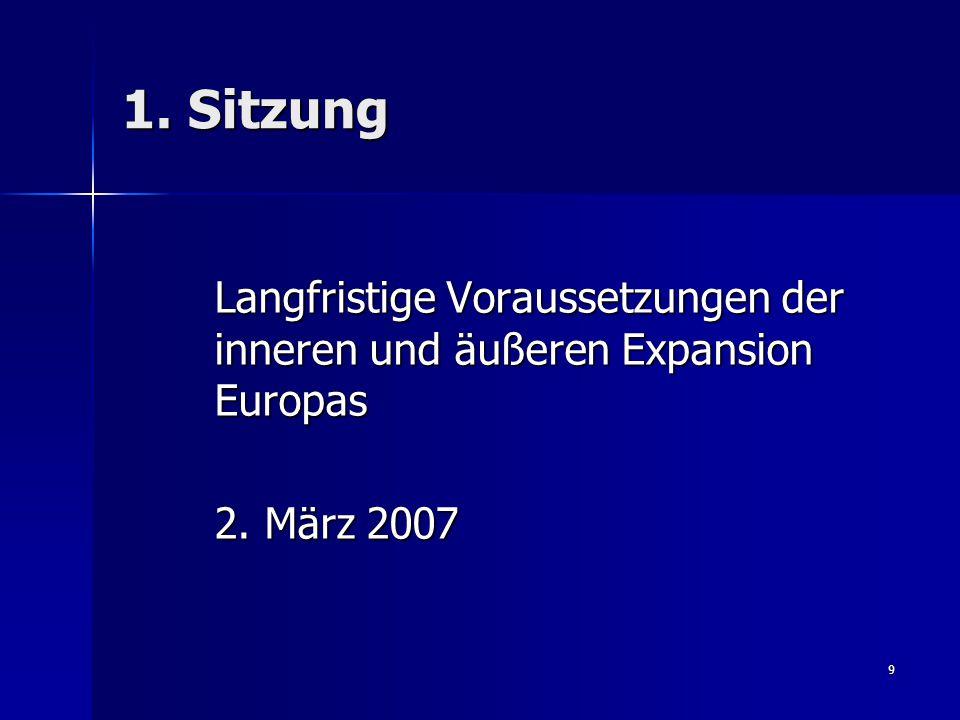1. Sitzung Langfristige Voraussetzungen der inneren und äußeren Expansion Europas 2. März 2007