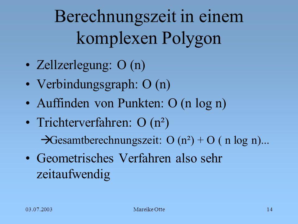 Berechnungszeit in einem komplexen Polygon