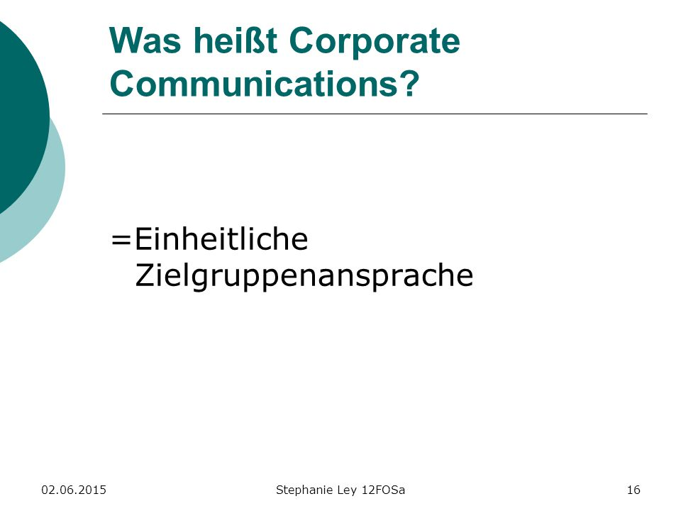 Was heißt Corporate Communications