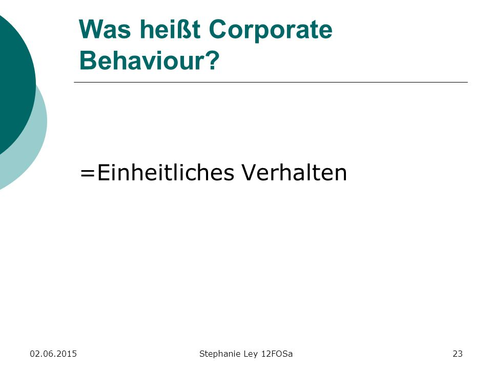 Was heißt Corporate Behaviour