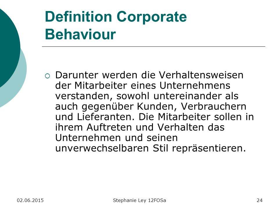 Definition Corporate Behaviour