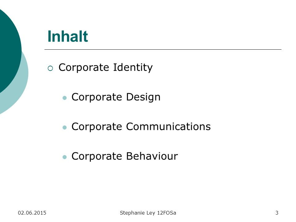 Inhalt Corporate Identity Corporate Design Corporate Communications