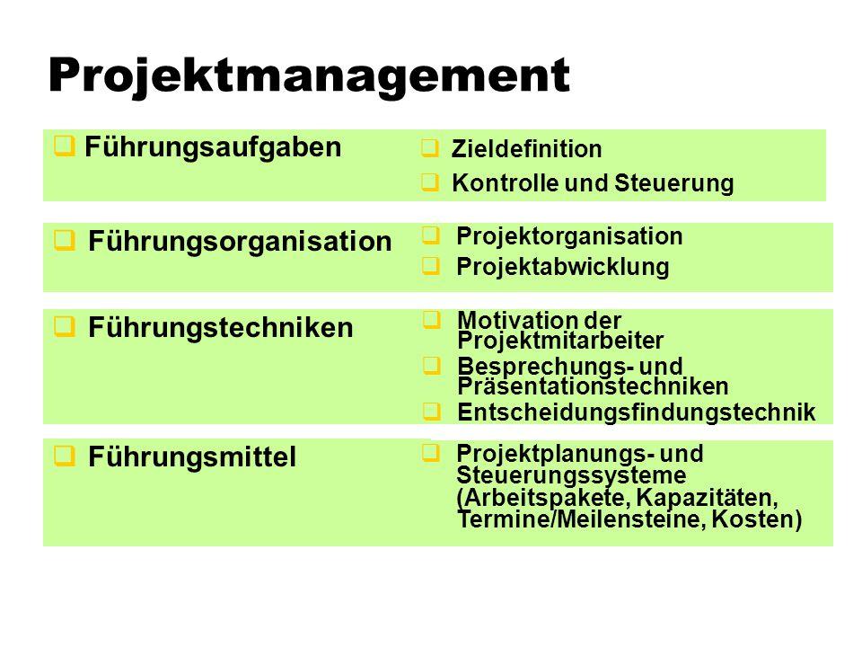 Projektmanagement Führungsaufgaben Führungsorganisation