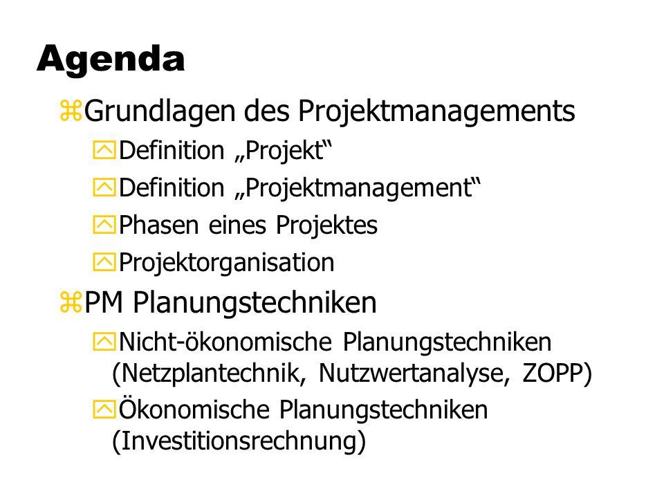Agenda Grundlagen des Projektmanagements PM Planungstechniken