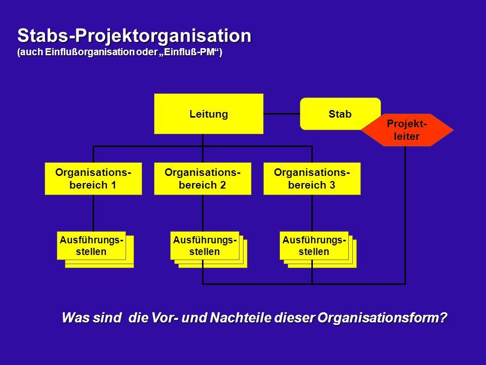 """Stabs-Projektorganisation (auch Einflußorganisation oder """"Einfluß-PM )"""