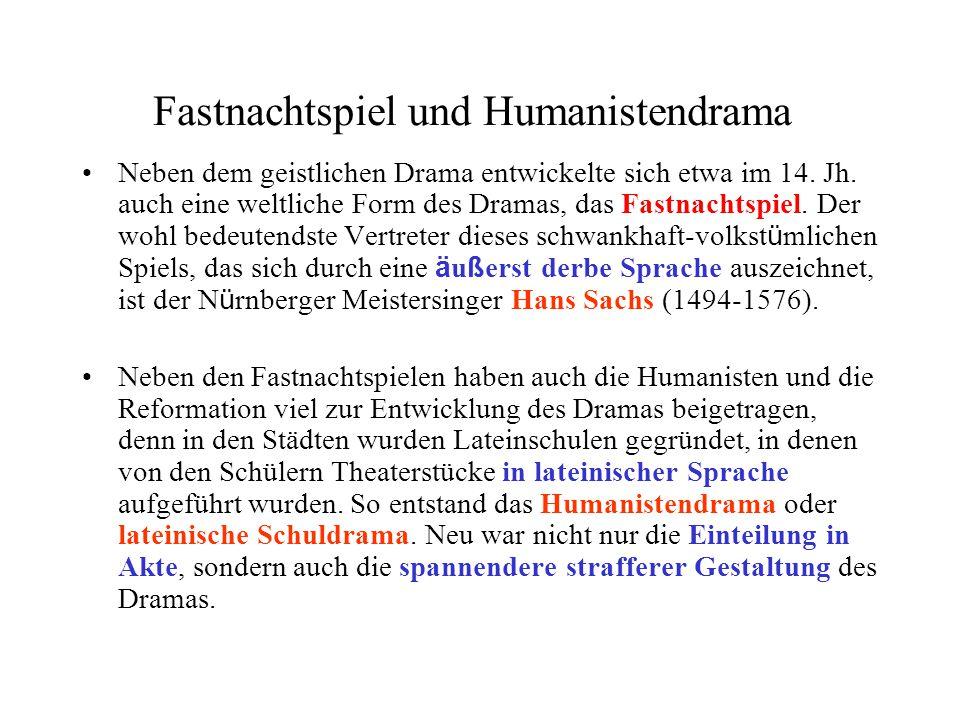 Fastnachtspiel und Humanistendrama