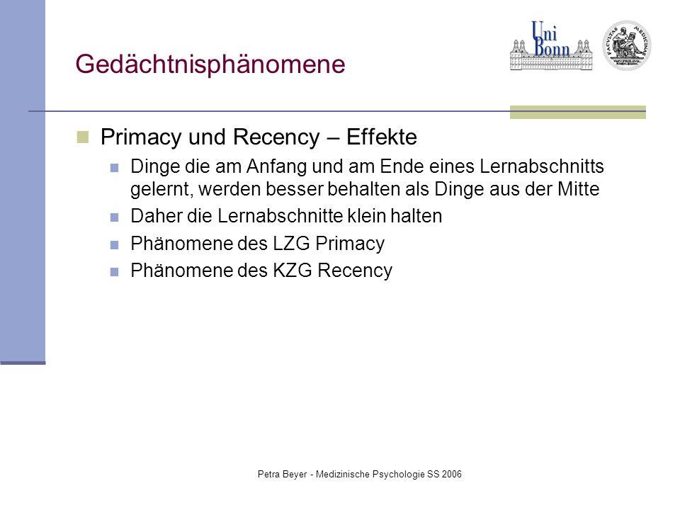 Petra Beyer - Medizinische Psychologie SS 2006