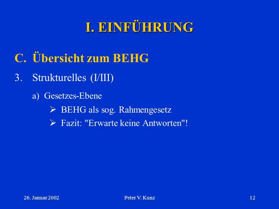 I. EINFÜHRUNG C. Übersicht zum BEHG a) Gesetzes-Ebene