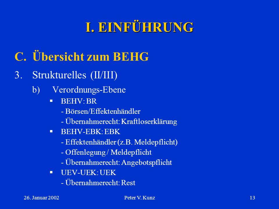 I. EINFÜHRUNG C. Übersicht zum BEHG Strukturelles (II/III)