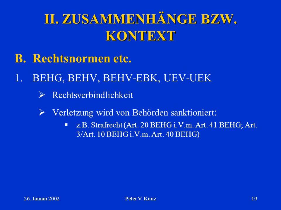 II. ZUSAMMENHÄNGE BZW. KONTEXT