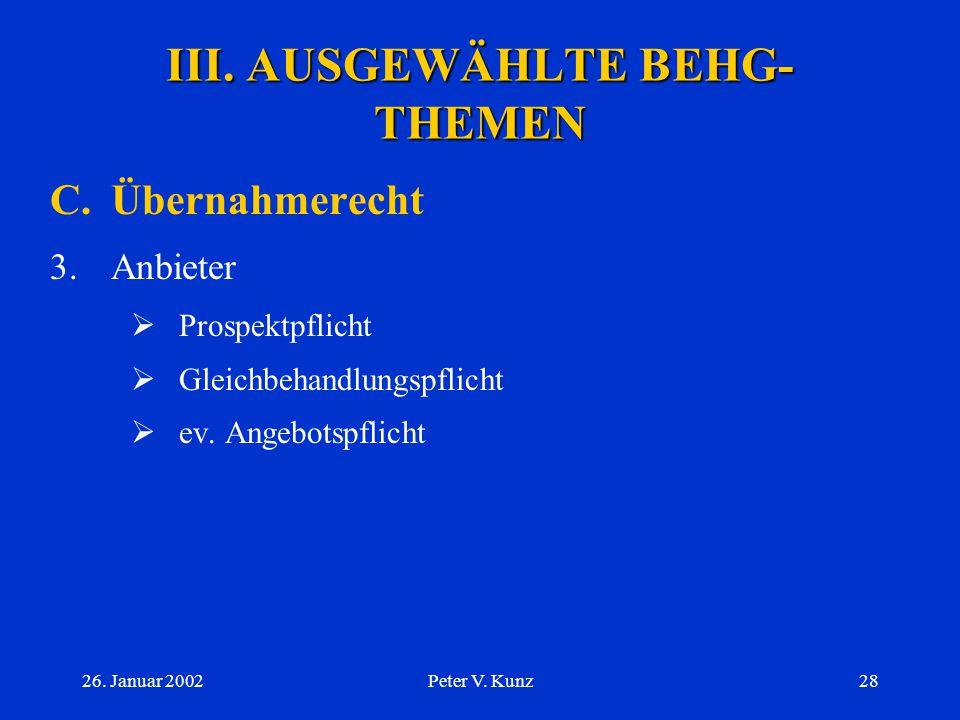 III. AUSGEWÄHLTE BEHG-THEMEN