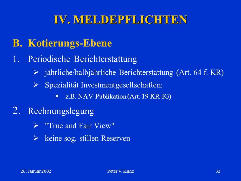 IV. MELDEPFLICHTEN B. Kotierungs-Ebene 2. Rechnungslegung