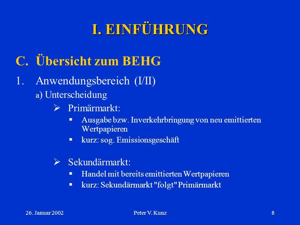I. EINFÜHRUNG C. Übersicht zum BEHG Anwendungsbereich (I/II)