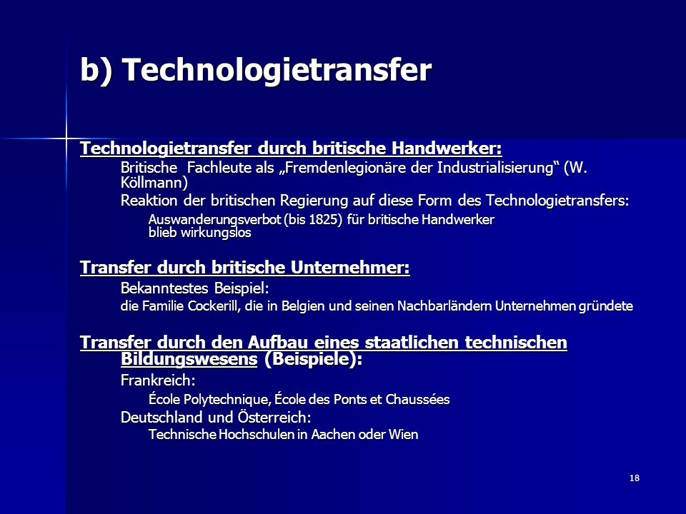 b) Technologietransfer
