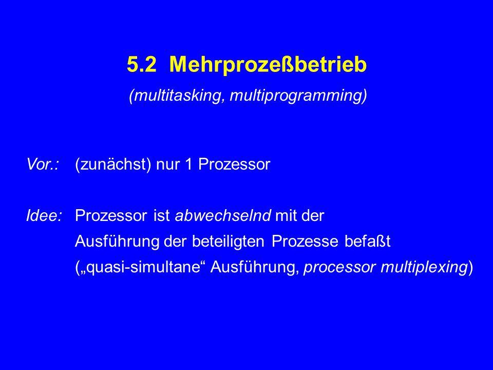 5.2 Mehrprozeßbetrieb (multitasking, multiprogramming)