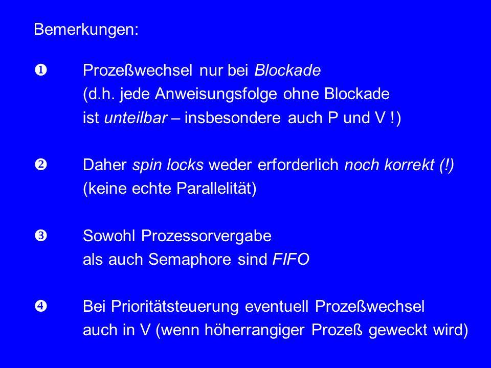 Bemerkungen:  Prozeßwechsel nur bei Blockade. (d.h. jede Anweisungsfolge ohne Blockade. ist unteilbar – insbesondere auch P und V !)