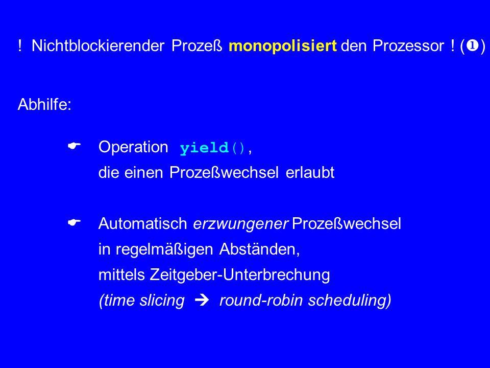 ! Nichtblockierender Prozeß monopolisiert den Prozessor ! ()