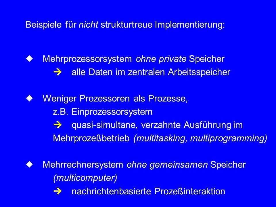 Beispiele für nicht strukturtreue Implementierung: