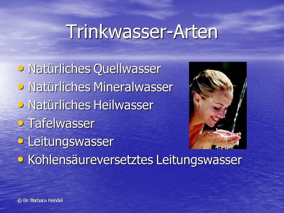 Trinkwasser-Arten Natürliches Quellwasser Natürliches Mineralwasser