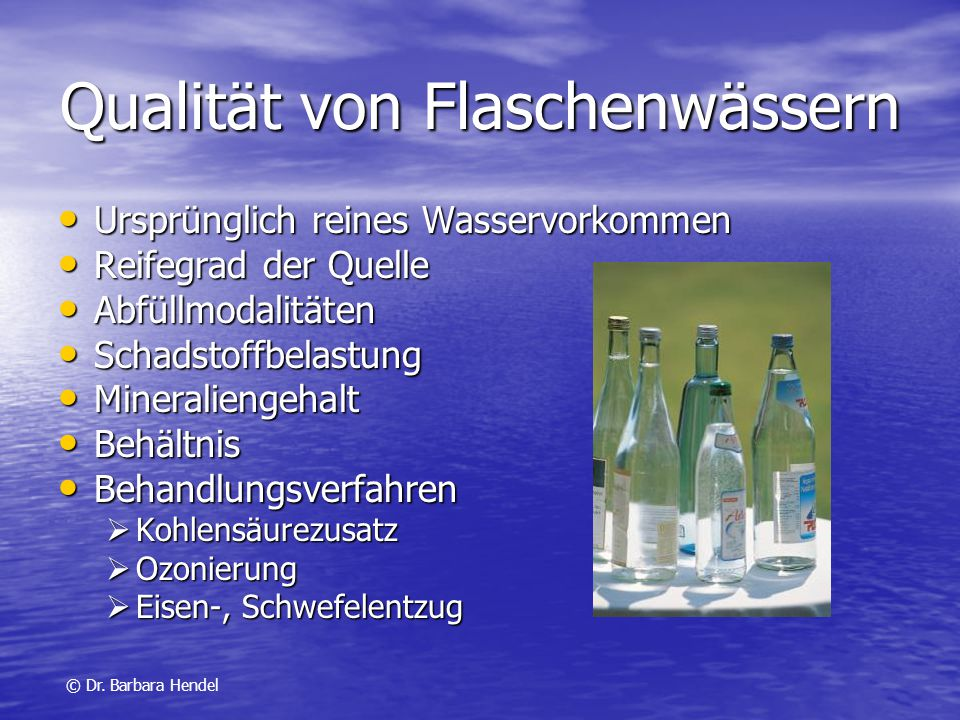 Qualität von Flaschenwässern