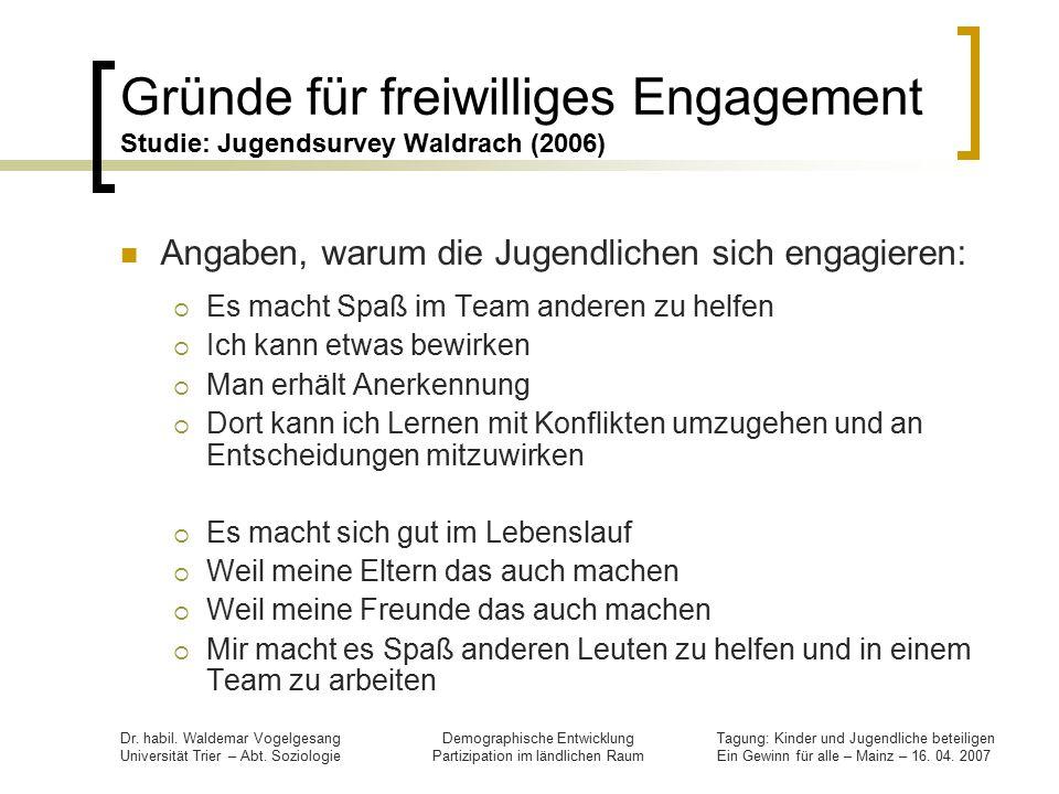 Gründe für freiwilliges Engagement Studie: Jugendsurvey Waldrach (2006)