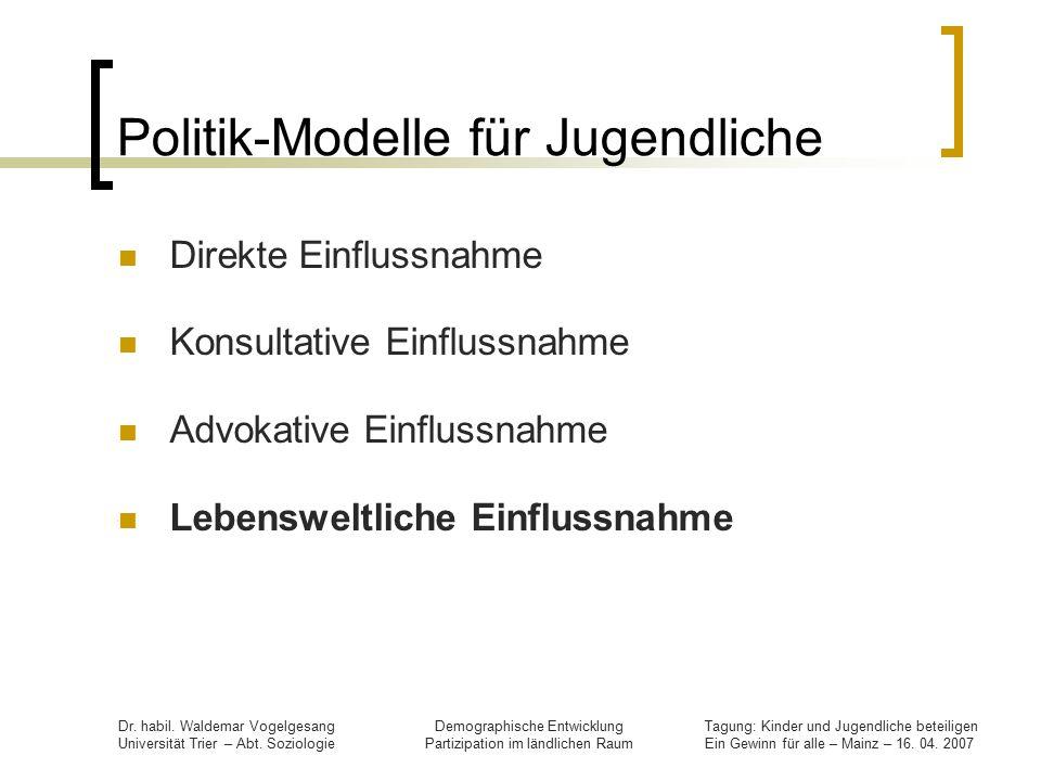Politik-Modelle für Jugendliche