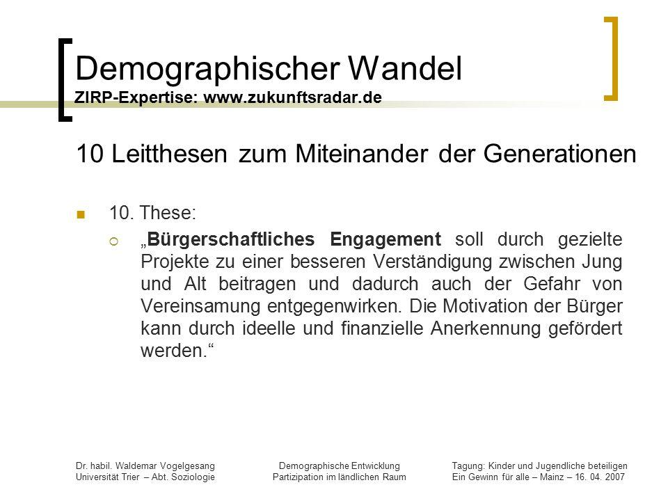 Demographischer Wandel ZIRP-Expertise: www.zukunftsradar.de