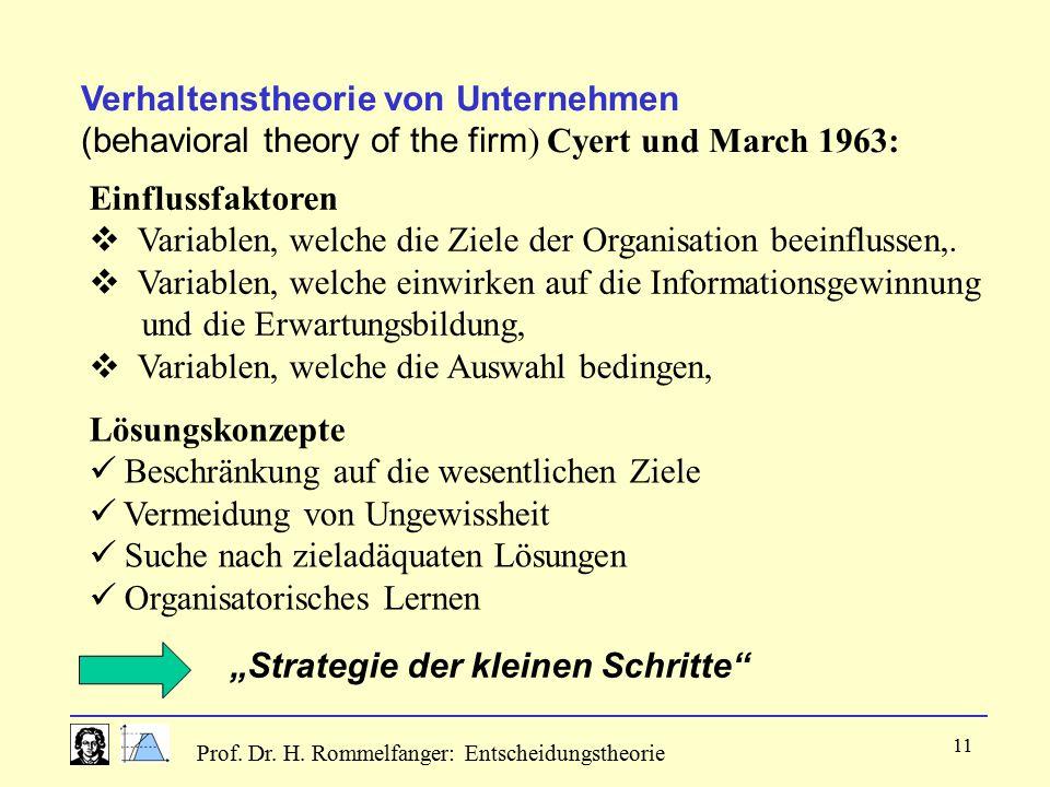 Verhaltenstheorie von Unternehmen