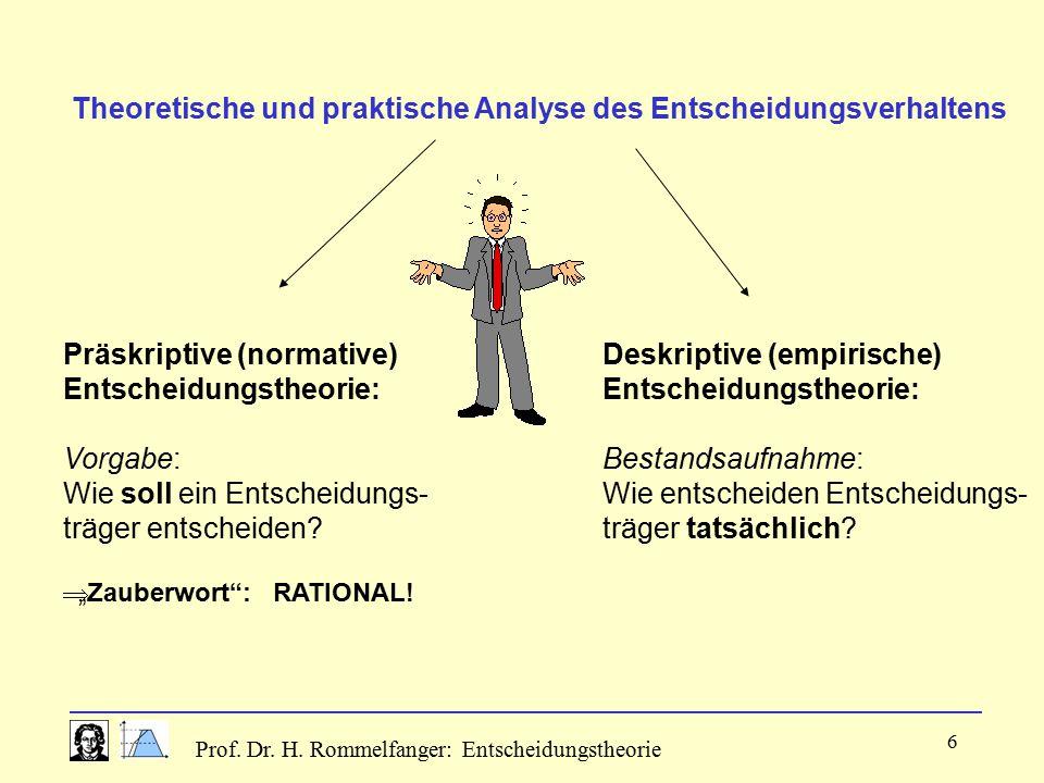 Theoretische und praktische Analyse des Entscheidungsverhaltens