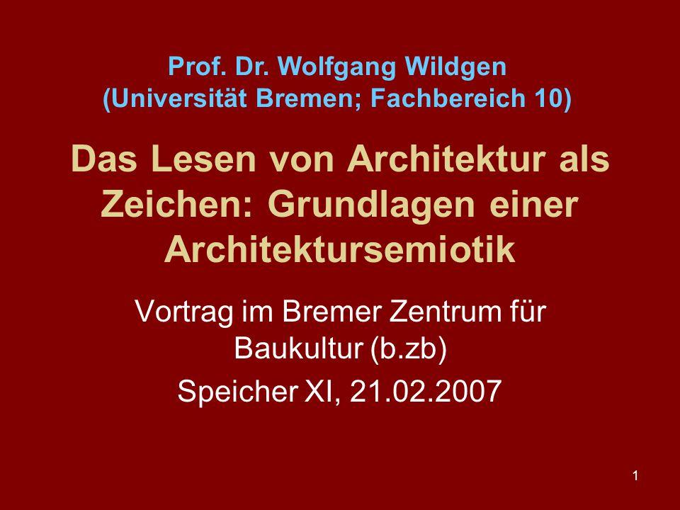 Vortrag im Bremer Zentrum für Baukultur (b.zb) Speicher XI, 21.02.2007