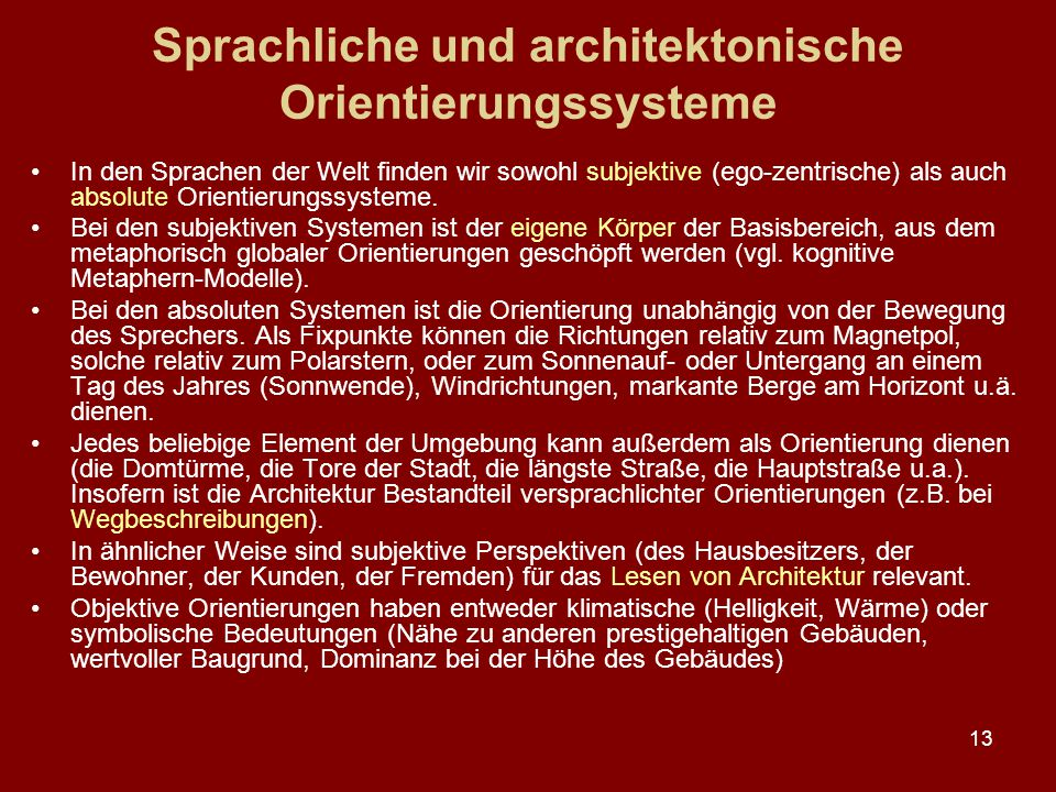 Sprachliche und architektonische Orientierungssysteme