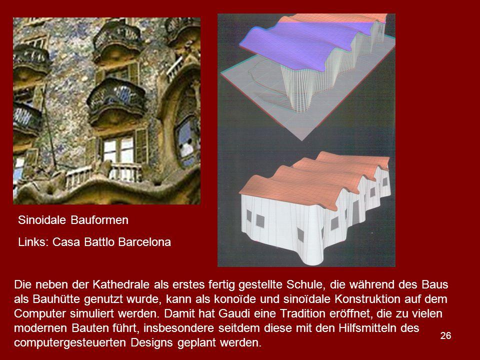 Sinoidale Bauformen Links: Casa Battlo Barcelona.