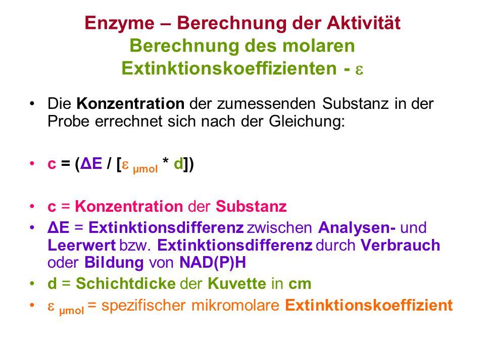 Enzyme – Berechnung der Aktivität Berechnung des molaren Extinktionskoeffizienten - 