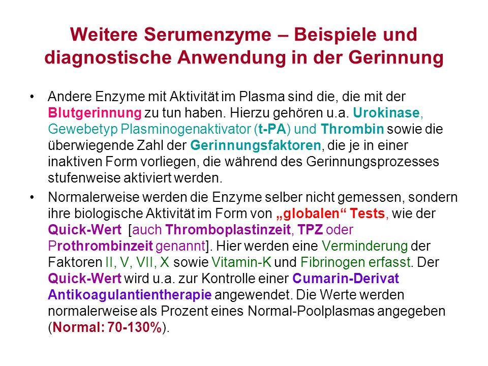 Weitere Serumenzyme – Beispiele und diagnostische Anwendung in der Gerinnung