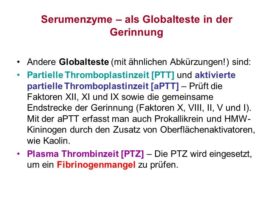 Serumenzyme – als Globalteste in der Gerinnung